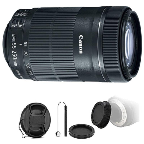 Canon EF-S 55-250mm f/4-5.6 IS STM Lens with Accessory Kit for Canon 77D , 80D and 1300D