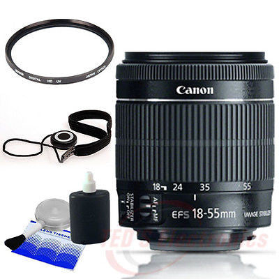 Canon EF-S 18-55mm f/3.5-5.6 IS STM Lens for EOS DSLR Cameras + UV Filter + more