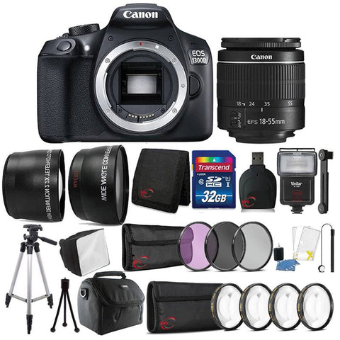 Canon EOS 1300D / Rebel T6 18MP DSLR Camera with 18-55mm III Lens and Accessory Bundle
