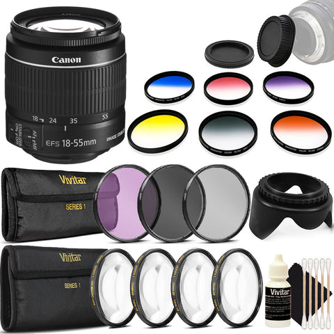 Canon EF-S 18-55mm f/3.5-5.6 IS ll Lens with Accessory Bundle For Canon DSLR Cameras