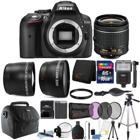 Nikon D5300 24.2MP DSLR Camera with 18-55mm Lens and 16GB Accessory Bundle