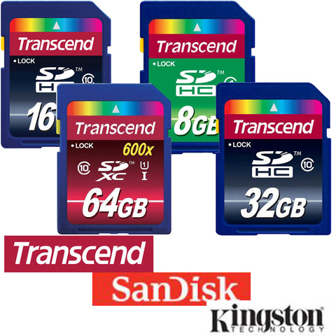 8GB 16GB 32GB 64GB SDHC Memory Cards from Transcend Kingston or Sandisc