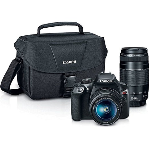 Canon EOS Rebel T6 18MP Built-In WIFI DSLR Camera with 18-55mm Lens , 75-300mm Lens and Canon 100ES Camera Case
