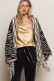 POL Winter Wood Fringe Cardi
