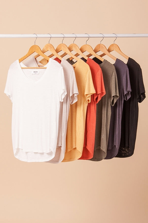 HYFVE V Neck Curved Hem T Shirt