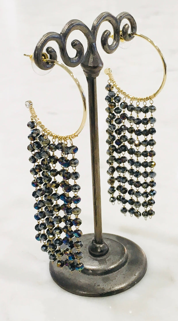 Nakamol Hoop Earrings with Crystal Cascade