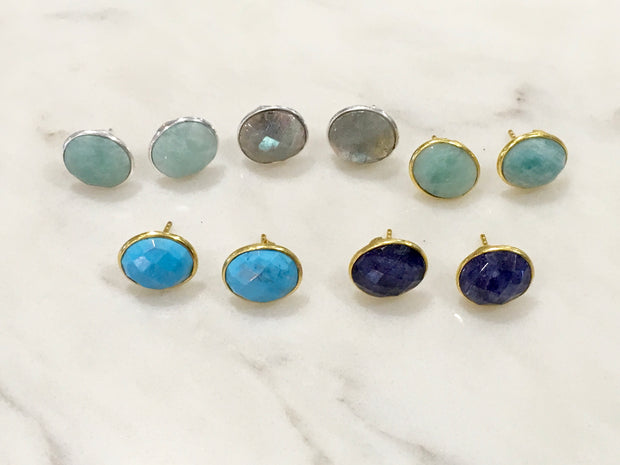 Semiprecious Stone Studs in Sterling Silver