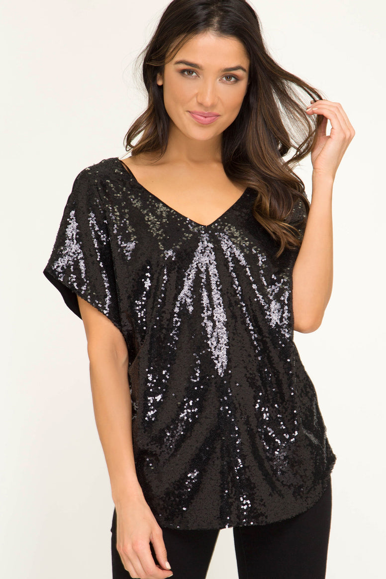 Sequin Knit Top