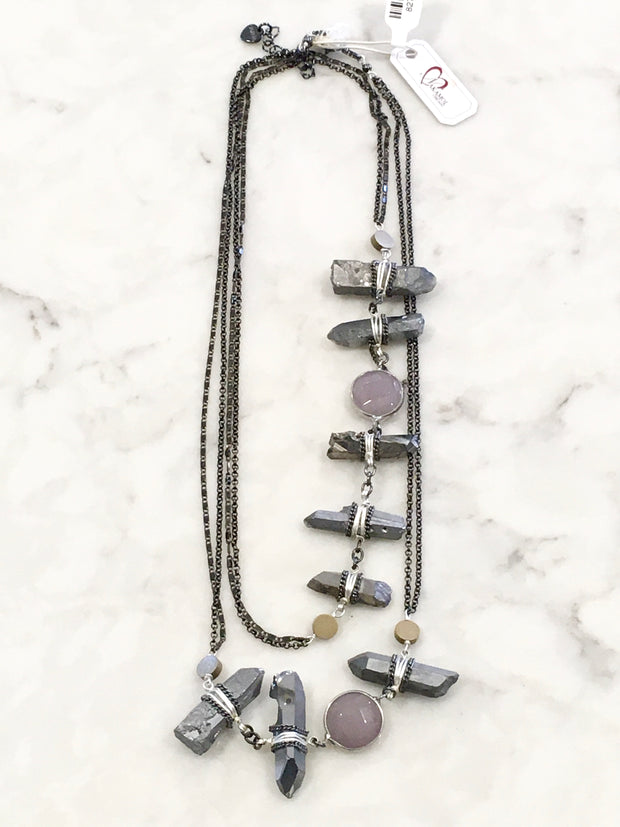 Nakamol Chunky Long Pyrite Necklace