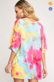 Oversized 1/2 Sleeve Tie Dye Top