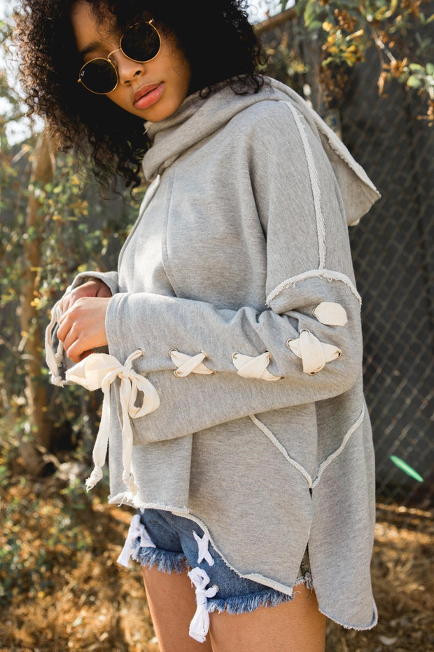 POL Lace Up Sleeve Hooded Sweatshirt