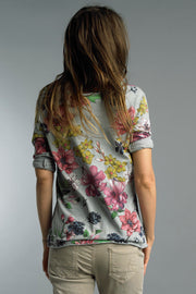 Raw Edge Spring Flowers Top