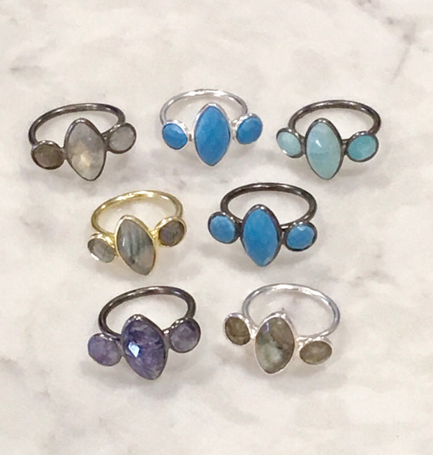 Semiprecious 3-Stone Adjustable Ring in Sterling Silver