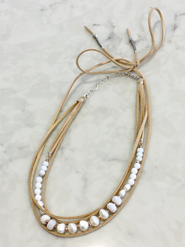 Nakamol Pearl and Leather Necklace
