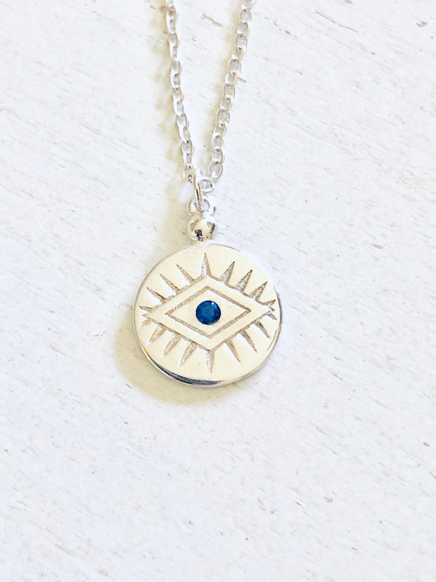 Evil Eye Sterling and Crystal Necklace