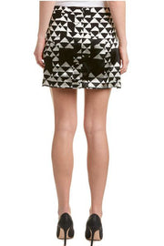 Bailey 44 Black and White Silk Slit Skirt