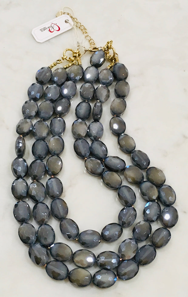 Nakamol Chicago Triple Strand Crystal Necklace