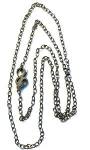 Serpent Clasp Long Necklace Set in Sterling Silver From Turkey