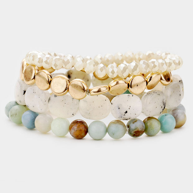 Natural Stone Bracelet Set of 4