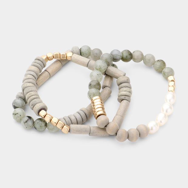 Natural Stone Bracelet Set of 3