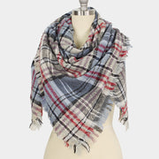 Plaid Square Frayed Edge Scarf