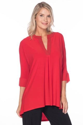 3/4 Sleeve Tunic with Chiffon