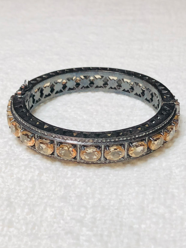 Gorgeous Diamond & Citrine Bangle