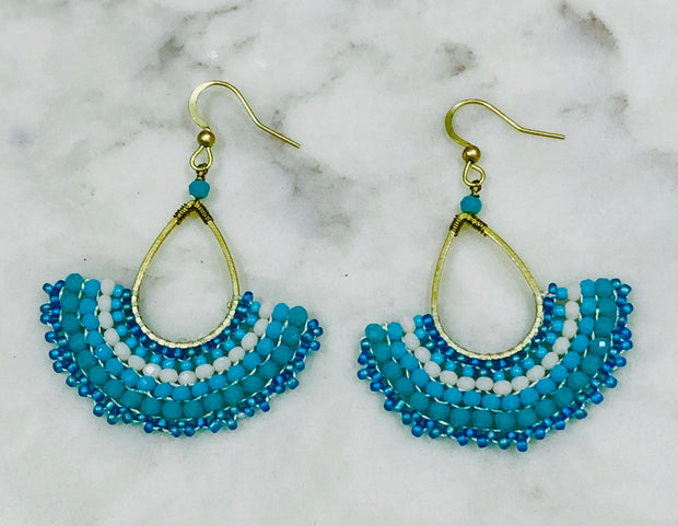 BoHo Beaded Fan Earrings