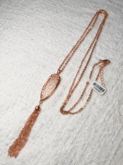 Rose Colored Tassel Necklace