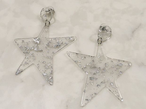 Lucite Crushed Metal Star Earrings