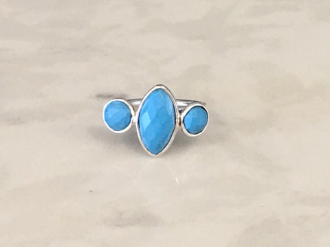 Semiprecious 3-Stone Adjustable Ring