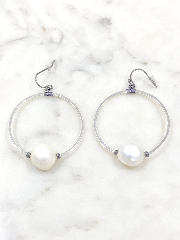 Nakamol Pearl Circle Hoop Earrings