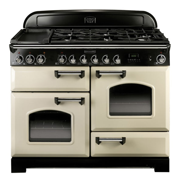 Range Cooker, Electric Induction 1100 mm, Rangemaster Classic Deluxe 110</br> Cream finish, chrome trim - Woodliving