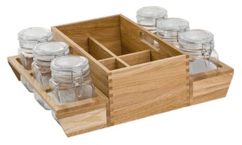 Deep Drawer Organiser, with Square Storage Jars, for Drawer Width from 600 mm</br> 420 mm deep, to suit 450 mm deep drawer, European oak - Woodliving