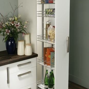 Pull Out Larder Unit, Chrome Linear Wire Baskets, Centre Mounting, Soft Closing - Woodliving