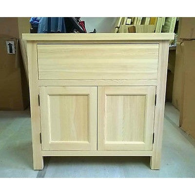 Solid Pine Kitchen Base Unit with 1 Drawer + 2 Doors 870mm - Woodliving