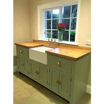 Free Standing Belfast Sink Unit with Rustic Oak Worktop, includes sink and taps - Woodliving