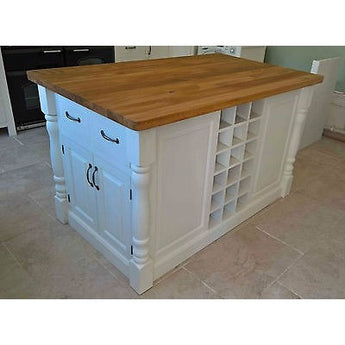 Solid Pine Island Unit with Rustic Oak Worktop - Woodliving