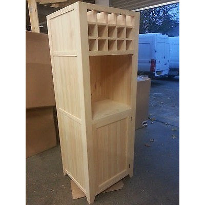 Free standing oven housing unit with cupboard and wine rack - Woodliving