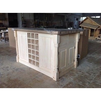 Solid Pine Island Unit with Traditional Turned Corner Profiles - Woodliving