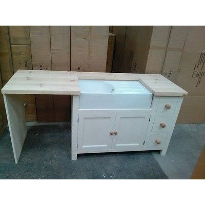 Solid Pine Belfast Sink Base Unit + Appliance Housing - Woodliving