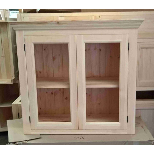 Solid pine kitchen wall cabinet with glazed doors - Woodliving