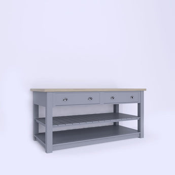 Kitchen Island Unit with Side Drawers and Slatted Central Shelf (ISL-3) - Woodliving