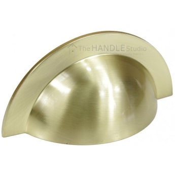Brushed Satin Brass Round Cabinet Cup Pull Handle 104mm In Length - Woodliving