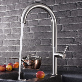 Crosswater Cucina Tube Round Tall Side Lever Kitchen Mixer - Brushed Stainless Steel - Woodliving