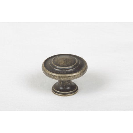 34mm In Diameter Antique Brass Traditional Pattern Cabinet Knob - Woodliving
