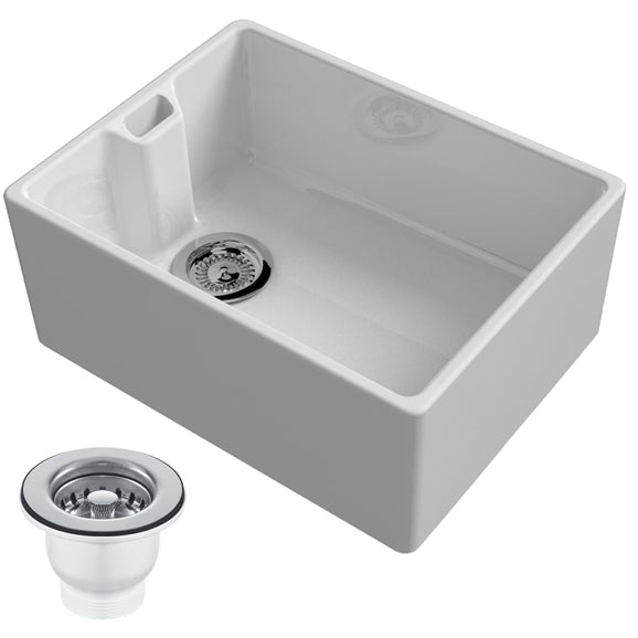 Reginox Belfast 600mm 1.0 Bowl Ceramic Kitchen Sink & Waste In White - Woodliving