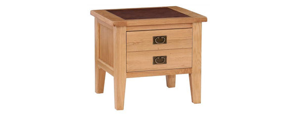 VXA004L - 1 Drawer Lamp Table with Leather Top - Woodliving
