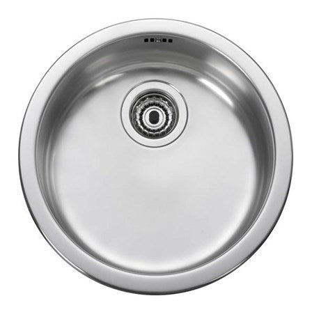 Leisure Round Single Bowl Brushed Stainless Steel Inset Sink & Waste Kit - 440 x 440mm - RB440BF - Woodliving