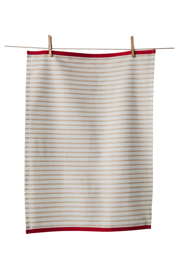 Tea towel with red and white stripes